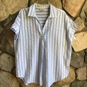 Jane and Delancey Striped Cotton Blouse Large